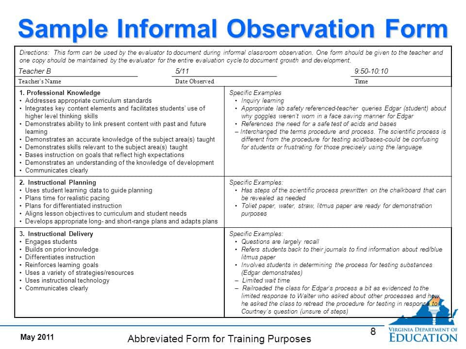 English Class Observation Report Sample And Sample Of Teacher Observation Report