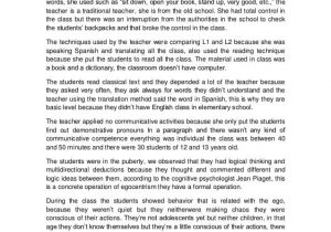 Example Of Classroom Observation Paper And Classroom Observation Report Essay